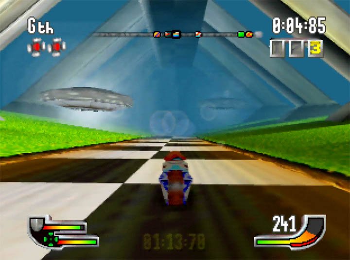 UFOs fly overhead as a superfast bike zooms around the track in Extreme-G for Nintendo 64.