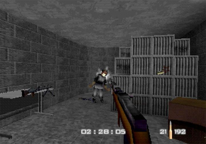 Enemy guard eats bullets in GoldenEye WW2 Hangar, a GoldenEye 007 N64 mod.