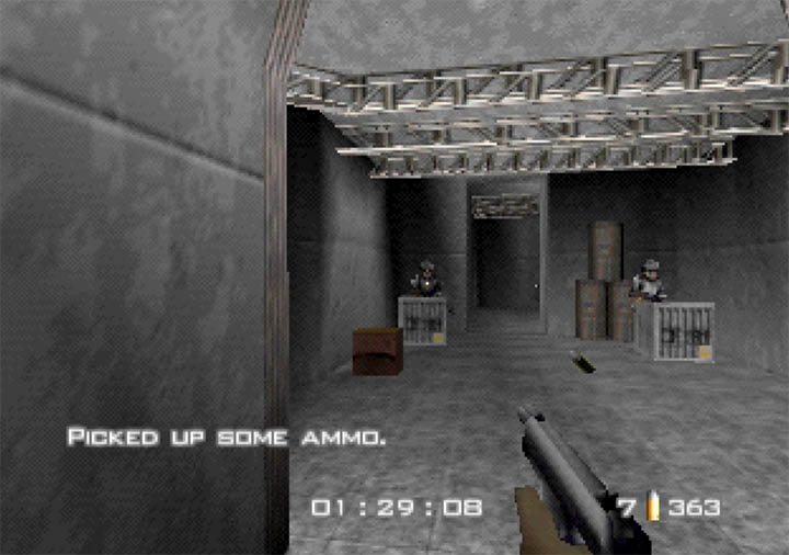 Engaging in a gunfight in GoldenEye WW2 Hangar mod for Nintendo 64.