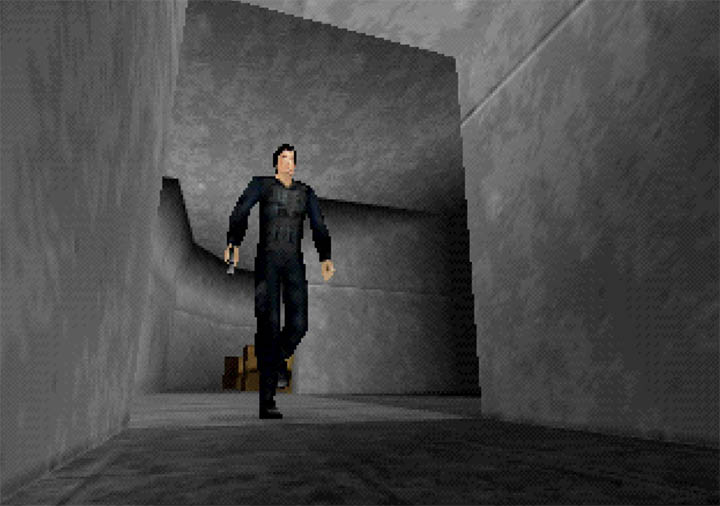 James Bond 007 casually escapes the incoming air raid in GoldenEye WW2 Hangar mod for N64.