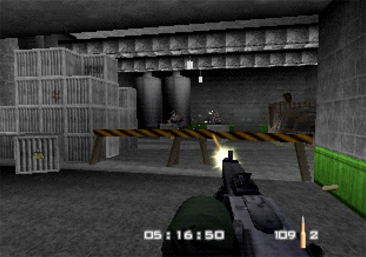 Attacking enemy guards with the devastating MG 42 machine gun in GoldenEye WW2 Hangar mod for N64.