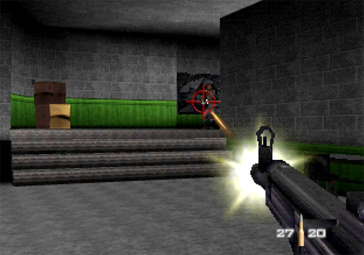 Shooting at a guard with the StG 44 rifle, a new weapon added in the GoldenEye WW2 Hangar mod.
