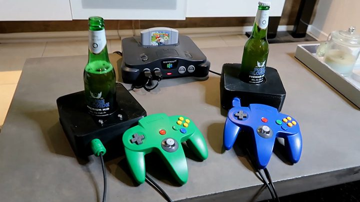 The N64 beer controller mod, created by Scotty D for usage with N64 drinking games.