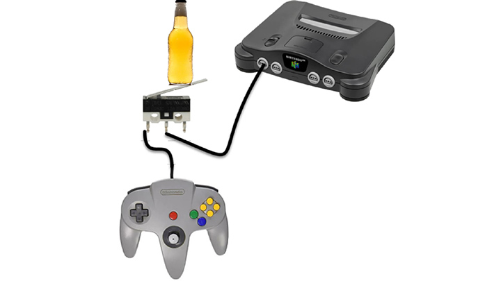 A diagram showing how the N64 beer controller mod works.