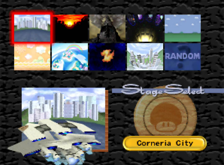 Choosing custom stage Corneria City on the Super Smash Bros. 64 Smash Remix stage select screen.