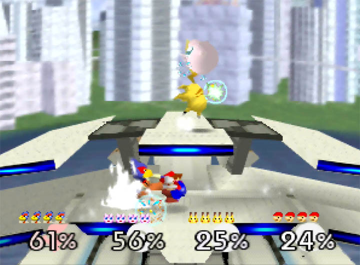 Falco battles it out against Mario, Pikachu and Jigglypuff on the custom Corneria City stage for Super Smash Bros. 64