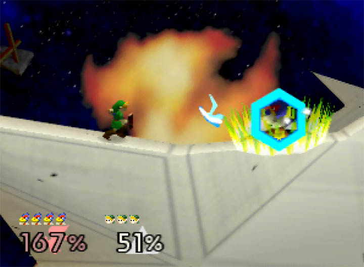 Falco deflects an incoming boomerang from Young Link in Smash Remix, a Super Smash Bros. 64 mod for N64.