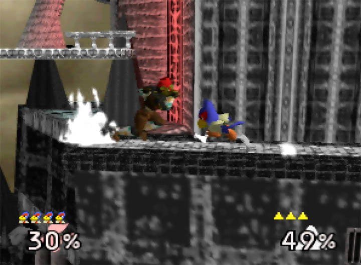 Falco and Ganondorf charge at one another in Smash Remix, a Super Smash Bros. 64 mod.