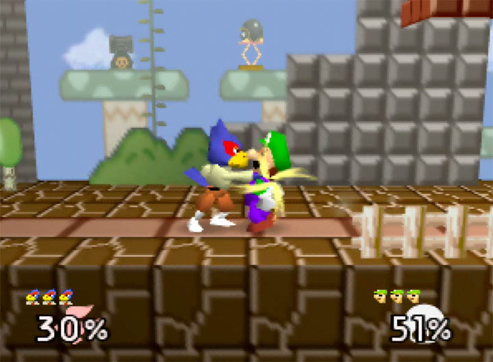 Falco grabs Luigi and prepares to throw him in Smash Remix for N64.