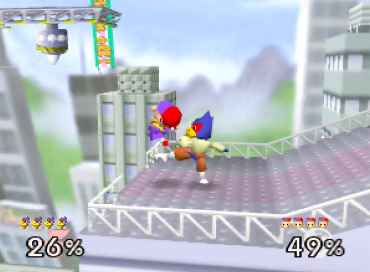 Falco bullies Ness with his combo kick in Super Smash Bros. 64 mod Smash Remix