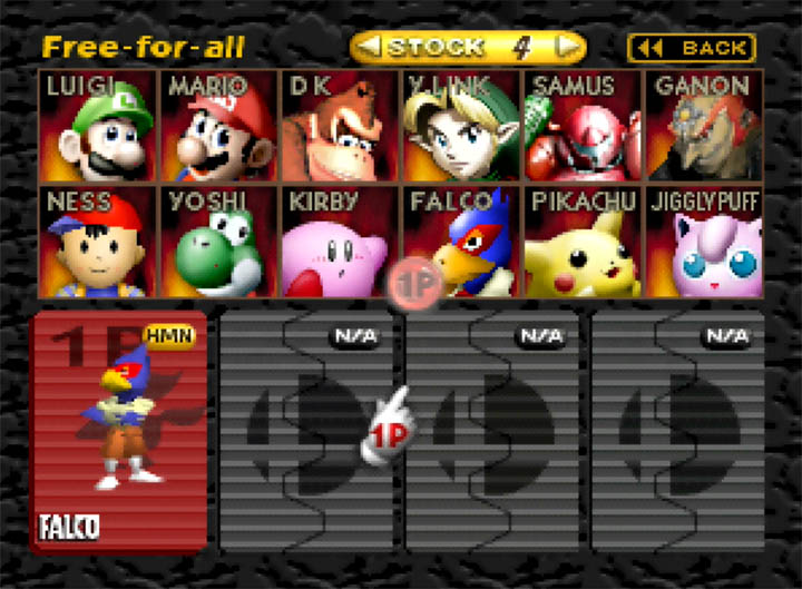 Selecting Falco as a playable character in the Super Smash Bros. 64 mod Smash Remix