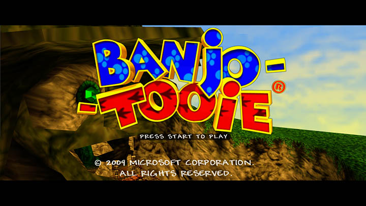 Banjo-Tooie's title screen in 1080p on Xbox One.