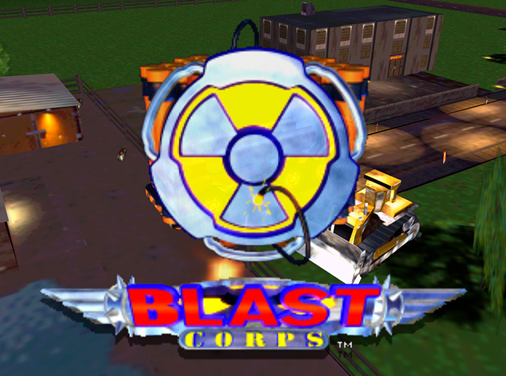 The title screen for Blast Corps, running on an Xbox One at 1080p.