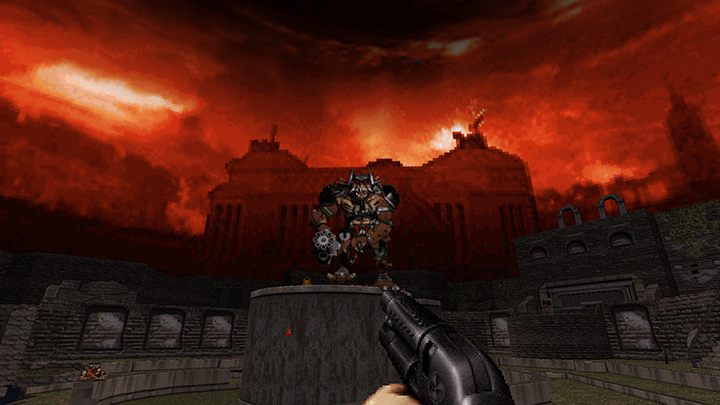 Duke Nukem takes aim at an alien enemy in Duke Nukem 3D: 20th Anniversary World Tour.