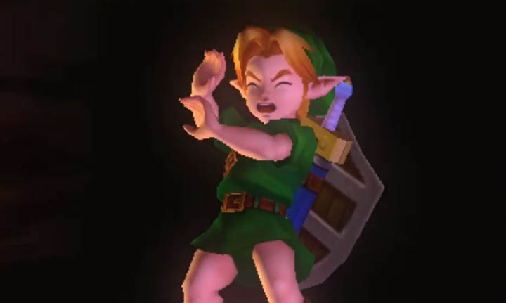 Link shields his eyes from the incoming explosion of the Moon crashing into Termina in The Legend of Zelda: Majora's Mask 3D.