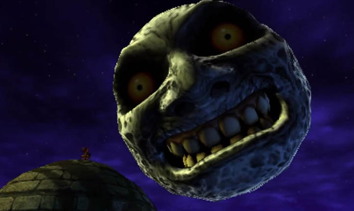 The Moon looks down menacingly on Termina in The Legend of Zelda: Majora's Mask 3D.