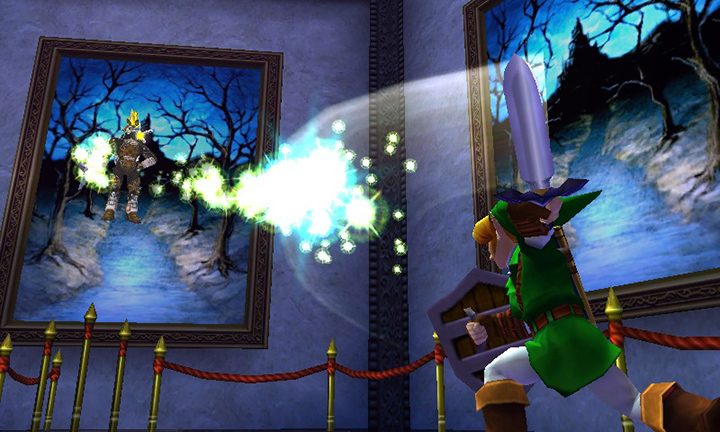 Playing energy tennis with Phantom Ganon in The Legend of Zelda: Ocarina of Time 3D.
