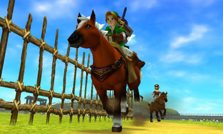 Racing with Epona against Ingo in The Legend of Zelda: Ocarina of Time 3D.