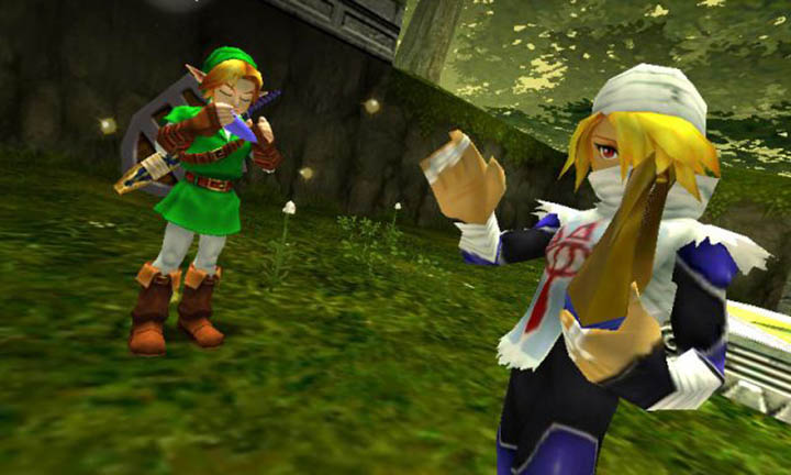 Link and Sheik perform the Minuet of Forest in The Legend of Zelda: Ocarina of Time 3D.