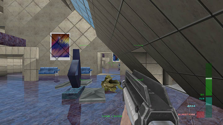 Joanna guns down a Skedar in Perfect Dark's Carrington Institute Defence mission (Xbox One version).