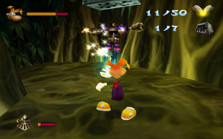 Rayman fights a Robo-Pirate in Rayman 2: The Great Escape for PC.