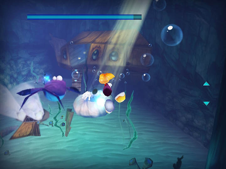 Swimming underwater in Rayman 3D on Nintendo 3DS