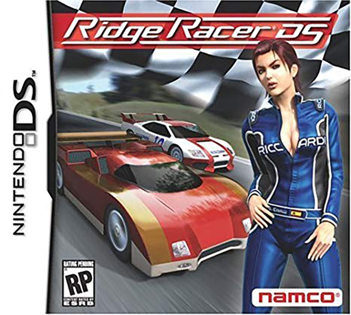 The box art for Ridge Racer DS, a handheld port of Ridge Racer 64.