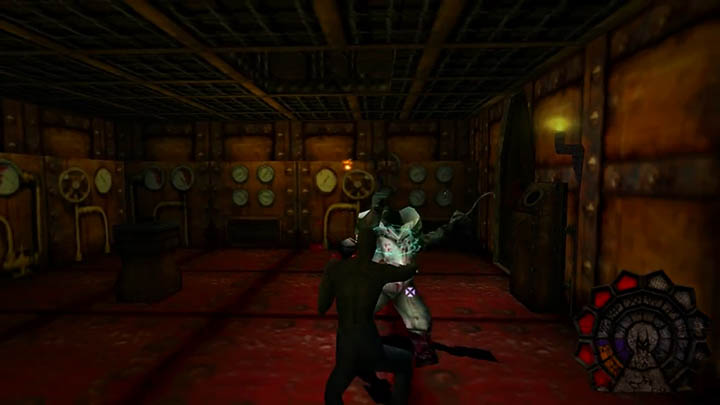 Battling a deranged monster in Shadow Man for PC.
