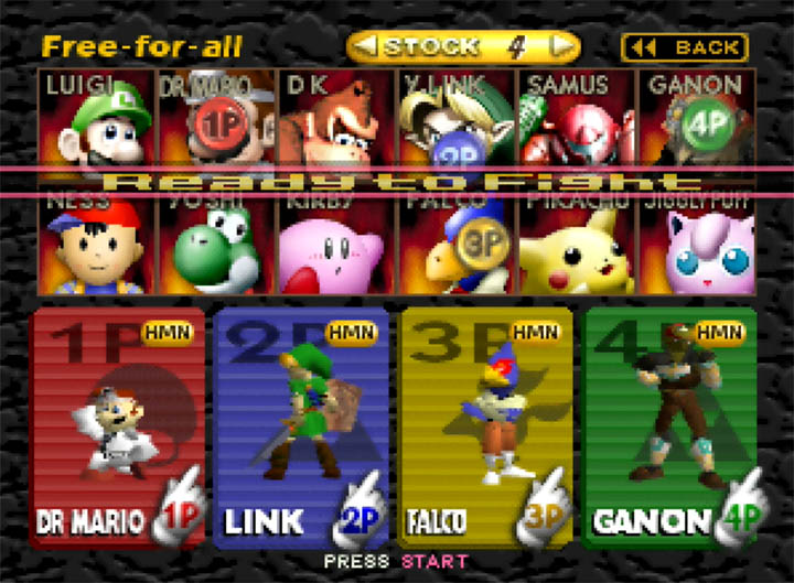 Version 0.8.2 of Smash Remix's character select screen showing Dr Mario, Link, Falco and Ganondorf.