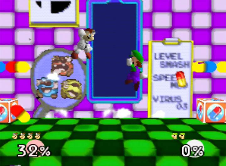Custom Dr Mario Super Smash Bros. 64 stage in the Smash Remix mod.