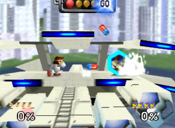Falco reflects Dr Mario's pills on Smash Remix's Corneria City stage.