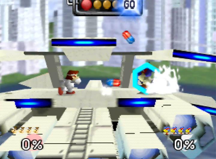 Falco reflects Dr Mario's pills on Smash Remix's Corneria City stage.