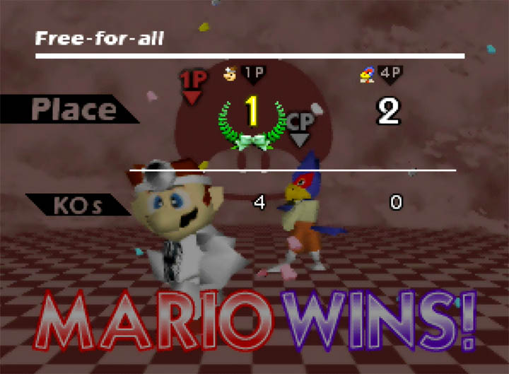 Victory as Dr Mario in Super Smash Bros. 64