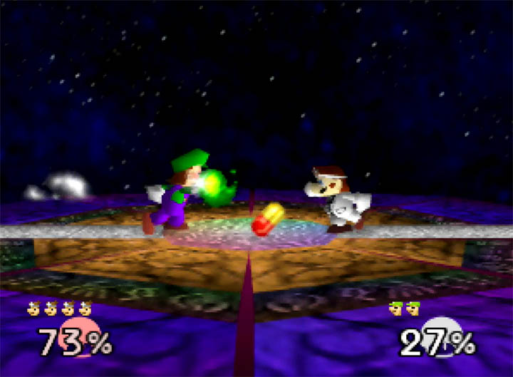 Fireballs meet pills as Luigi battles Dr Mario in Super Smash Bros. 64 on the Final Destination stage.