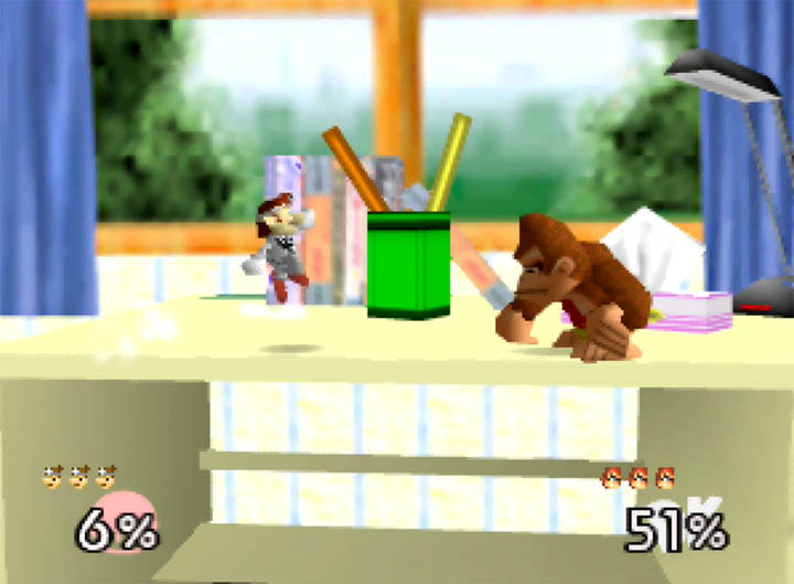 Dr Mario faces Donkey Kong on First Destination, a custom stage based on Super Smash Bros. 64's opening intro.
