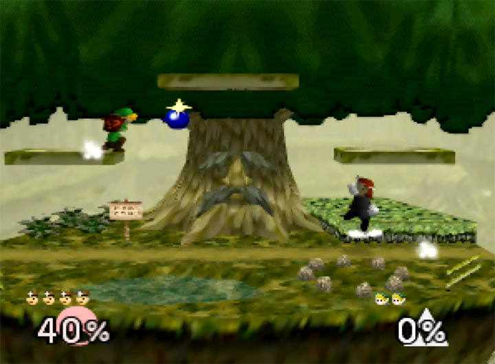 Dr Mario and Young Link in Super Smash Bros. 64 battling it out on the Great Deku Tree stage.