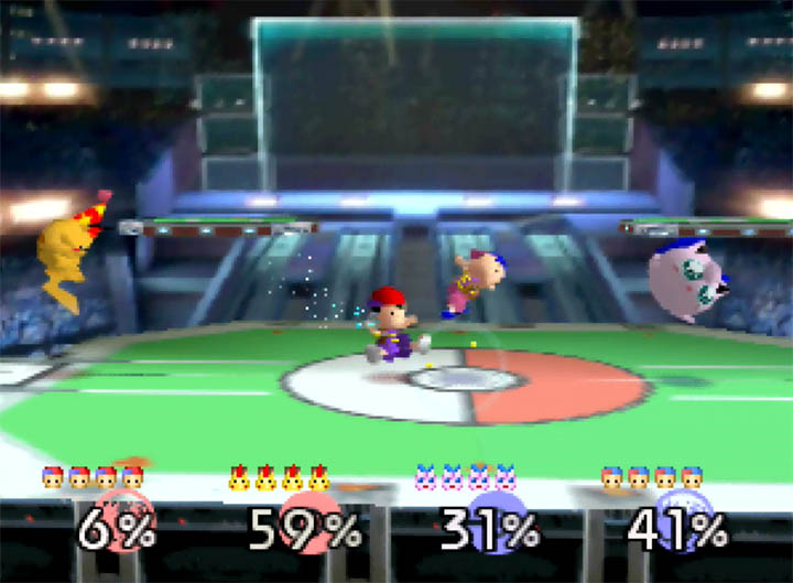 Two teams battle it out in Smash Remix's 64-bit version of Pokémon Stadium 2 stage.