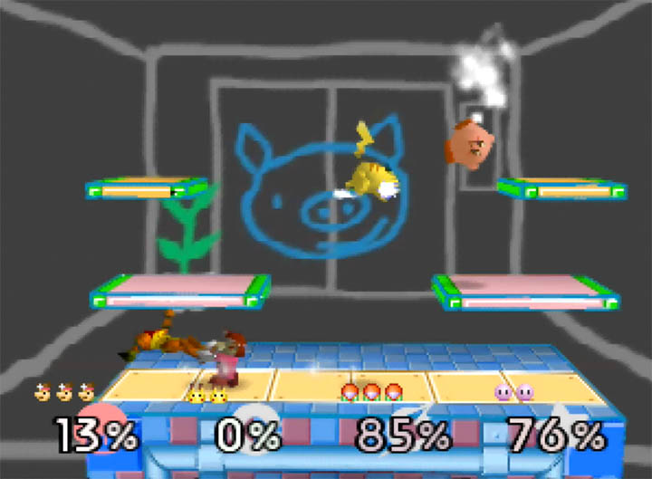 The WarioWare Inc. stage on N64 as part of Smash Remix, a Super Smash Bros. 64 mod.