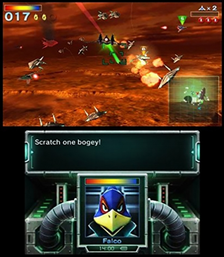 Battling it out above Katina in Star Fox 64 3D for Nintendo 3DS.