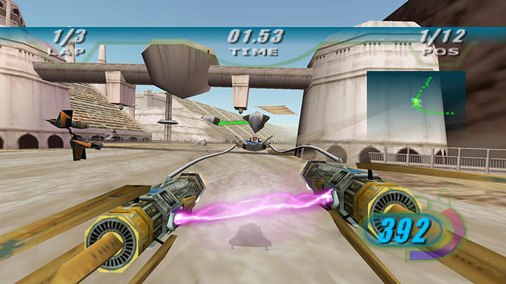 Anakin Skywalker battles Sebulba for first place in the Boonta Eve Classic in Star Wars Episode 1: Racer on PC.