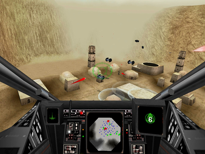Shooting down TIE bombers over Mos Eisley in Star Wars: Rogue Squadron 3D for PC.