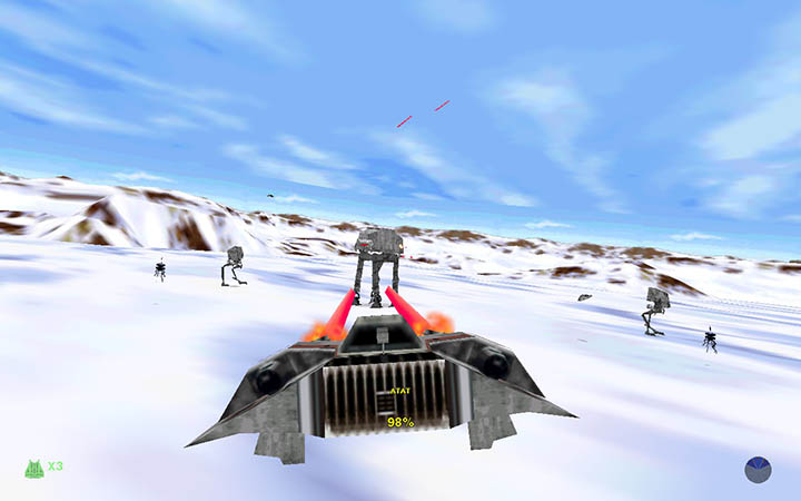 The Battle of Hoth stage from Star Wars: Shadows of the Empire on PC