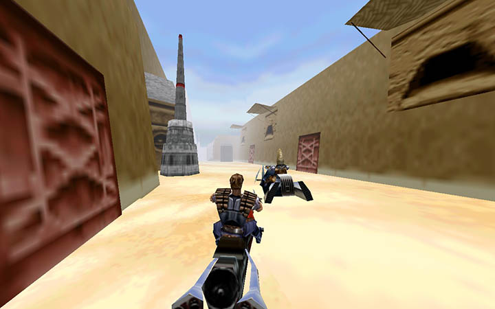 Dash Rendar chases down thugs in Star Wars: Shadows of the Empire's Mos Eisley stage