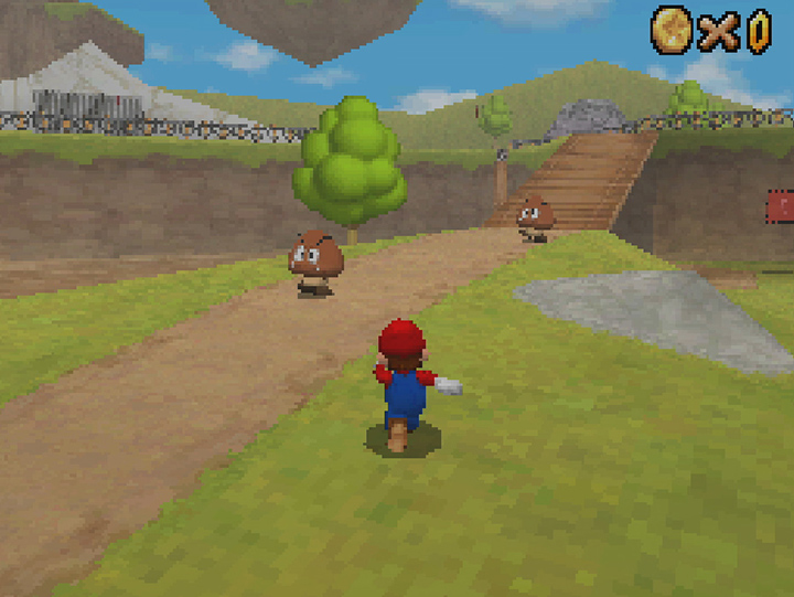 The Bob-omb Battlefield course in Super Mario 64 DS.