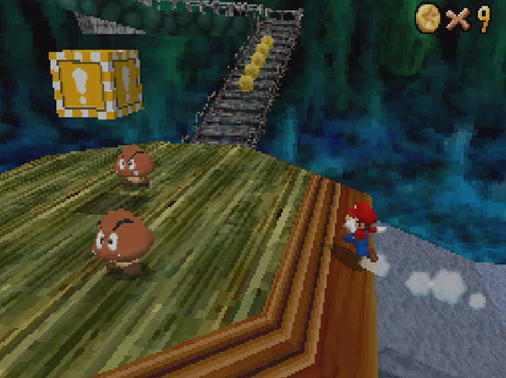 Bowser in the Dark World stage in Super Mario 64 DS.