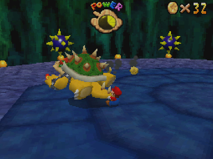 Spinning Bowser by his tail in Super Mario 64 DS.
