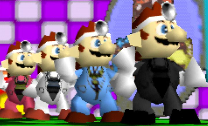 All of Dr Mario's costumes in Smash Remix, a mod for Super Smash Bros. 64