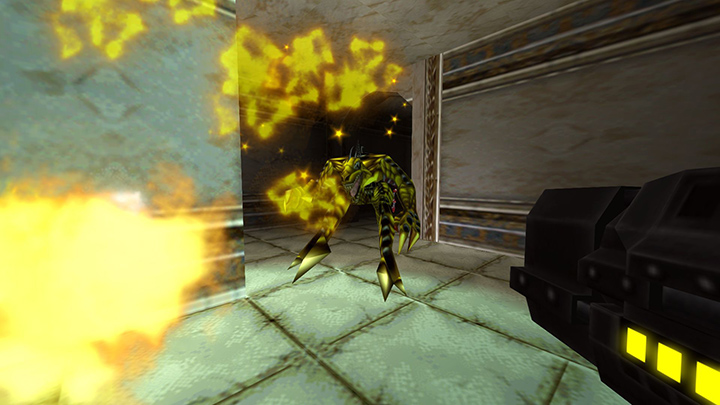 Firing a grenade launcher at an enemy Dinosoid in Turok 2: Seeds of Evil remastered.