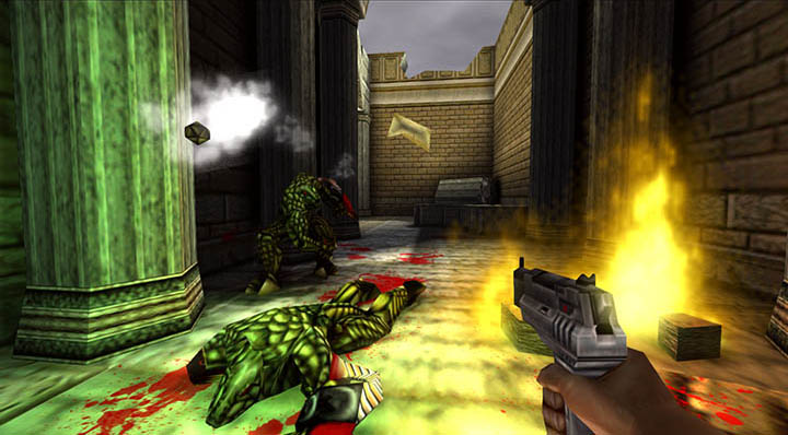 Battling deadly Dinosoids in Turok 2: Seeds of Evil remastered