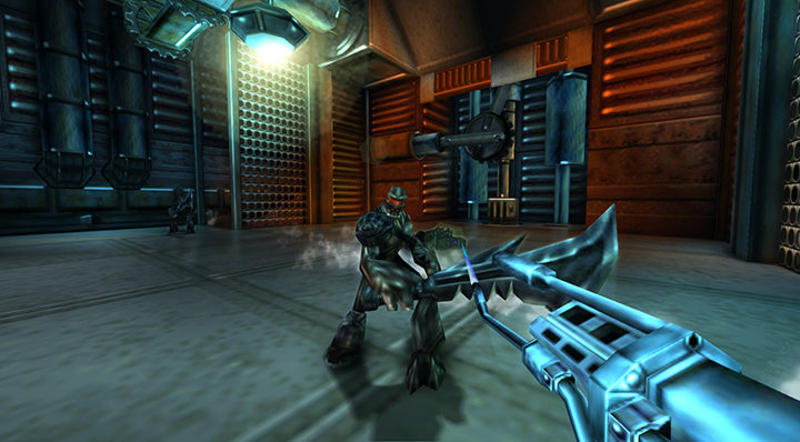 Battling Oblivion's forces in Turok 2: Seeds of Evil on Xbox One.